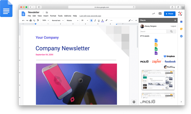 Pics.io extension for Google Docs