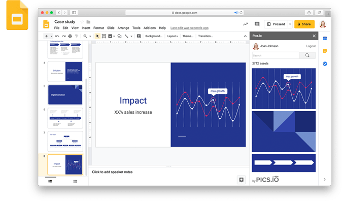 Pics.io extension for Google Slides