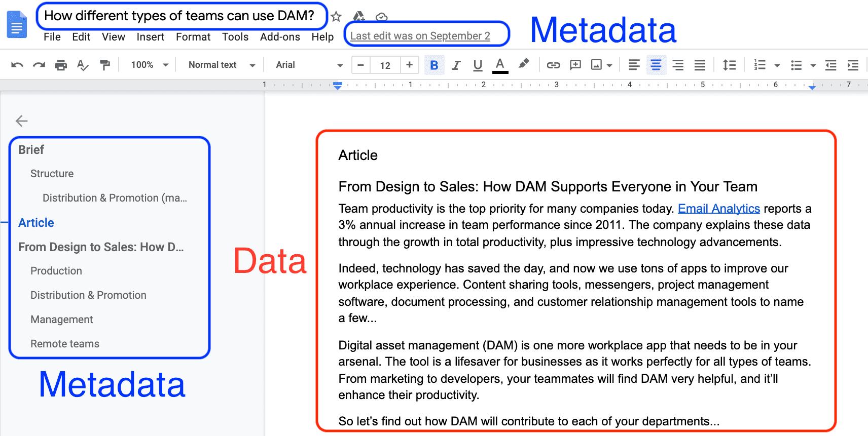 Document file metadata