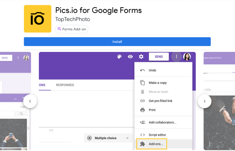 Pics.io add-on for Google Forms