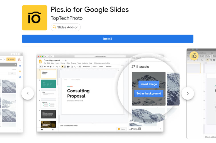 Pics.io add-on for Google Slides