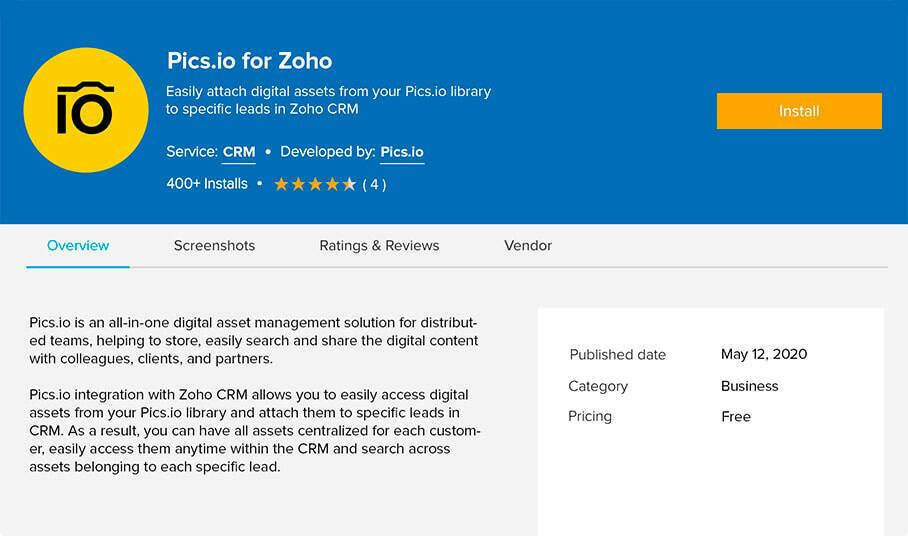 Pics.io plugin for Zoho CRM