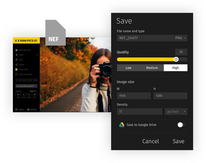 📷 Convert NEF to JPG online with Raw pics io NEF free