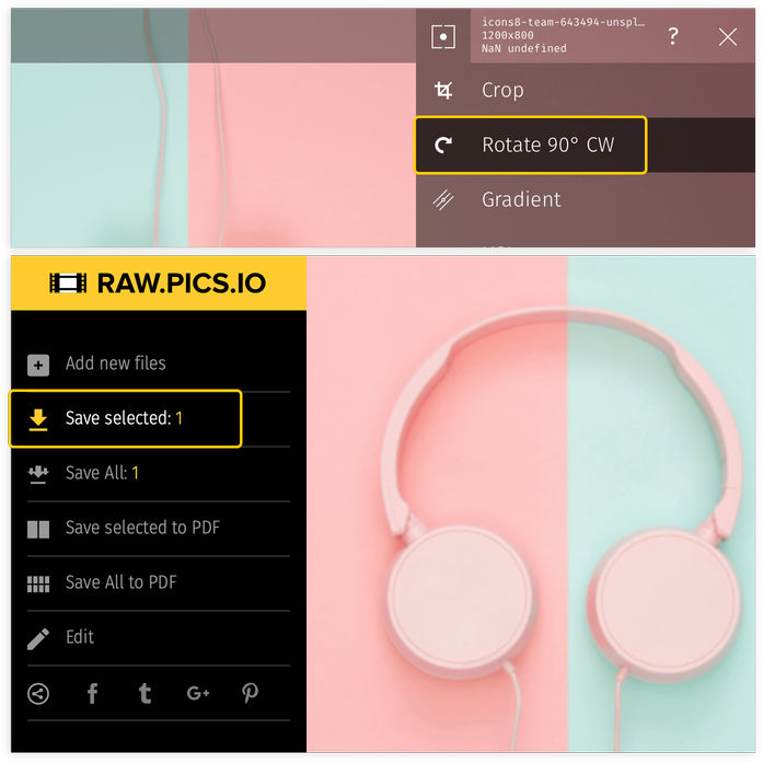 Learn how to rotate PNG with Raw.pics.io