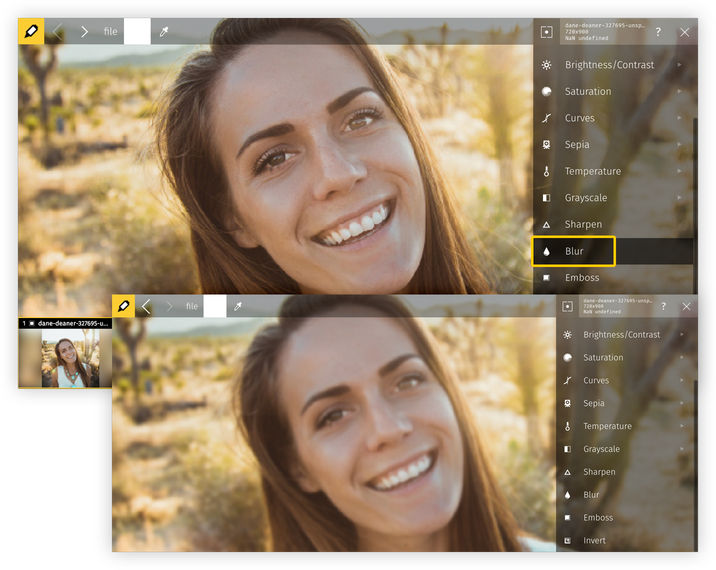 Five easy steps to blur image with Raw.pics.io