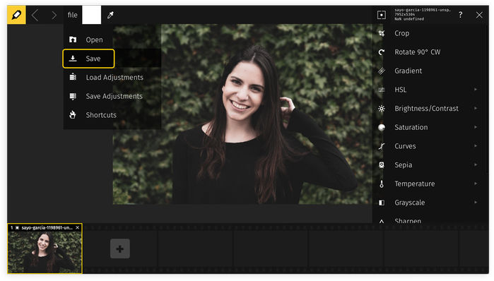 Compressing photos online with Raw.pics.io